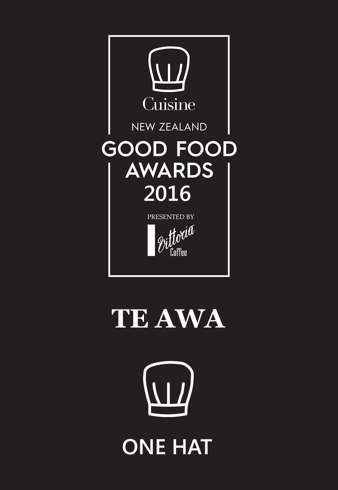 Te Awa Restaurant receives hat at the Cuisine Good Food Awards 2016