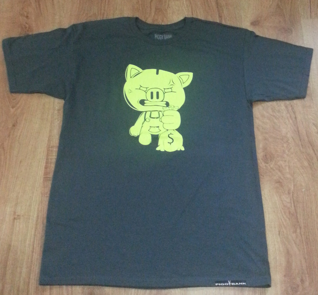 SOLID NEON GREEN OG PIGGY TEE CHARCOAL GRAY