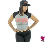 PROMO TEE RAGLAN DEEP/ HEATHER BLACK