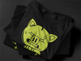 SOLID BLACK/NEON GREEN OG PIGGY TEE