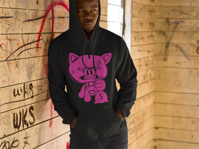 SOLID OG BLACK PIGGY HOODY