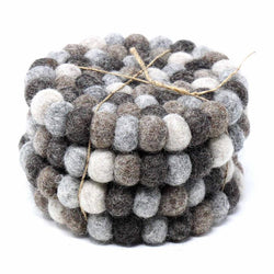 Hand Crafted Felt Ball Coasters from Nepal: 4-pack, Multicolor Greys - Global Groove (T)