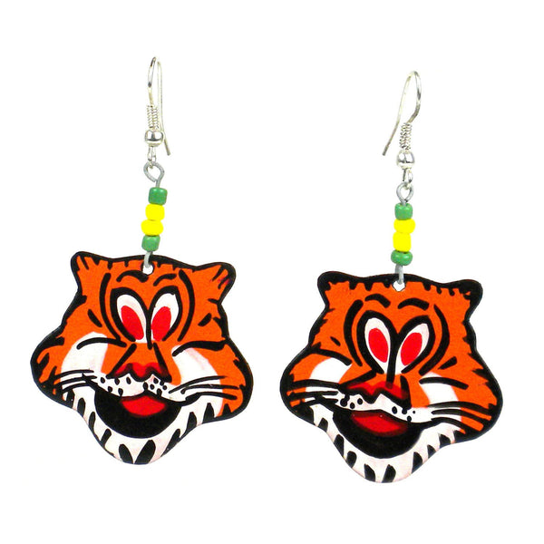 Recycled Tin Tiger Earrings Handmade and Fair Trade