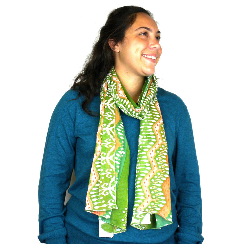 White,Peach and Green Ikat Cotton Scarf - Asha Handicrafts
