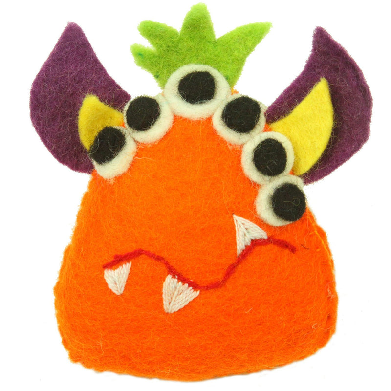 Hand Felted Orange Tooth Monster with Many Eyes Handmade and Fair Trade