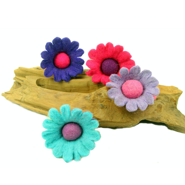 Hand Felted Colorful Flower Fairies - Set of 4