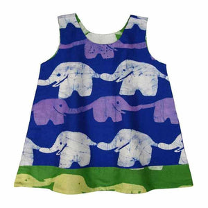 Reversible Baby Dress Blue and Lime Elephants