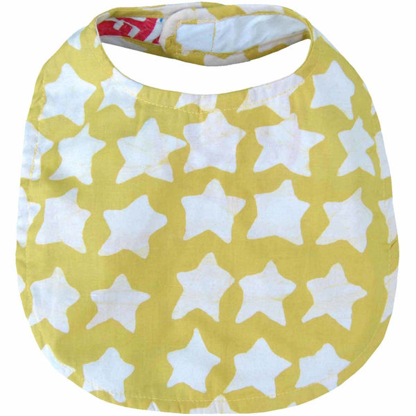 Batiked Baby Bib Gold Star Design