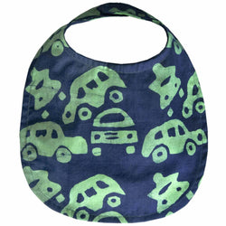 Batiked Baby Bib Lime Car Design
