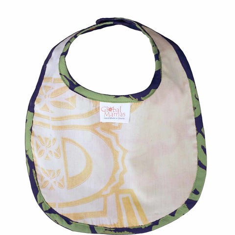 Image of Batiked Baby Bib Lime Car Design - Global Mamas (B)