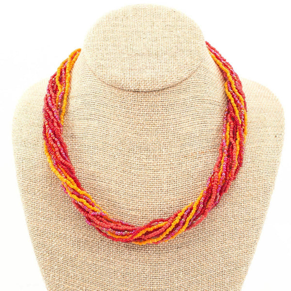 12 Strand Bead Necklace - Red/Orange