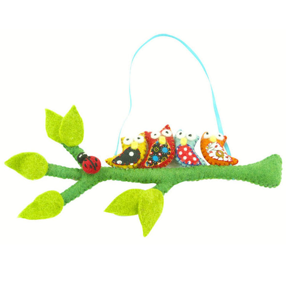 Felted Owls on a Hanging Branch - Bright