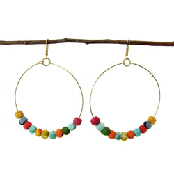 Kantha Beaded Hoop Earrings - WorldFinds