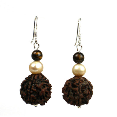 Rudraksha & Pearl Earrings