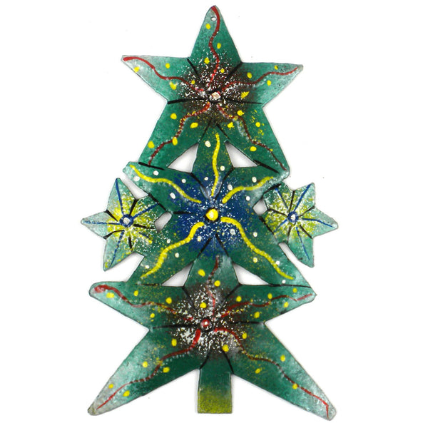 Hand Painted Tree Steel Drum Ornament - Croix des Bouquets (H)