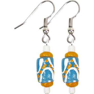 Hand Painted Earrings Light Blue - Global Mamas