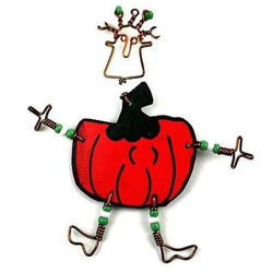 Dancing Girl Pumpkin Pin Handmade and Fair Trade