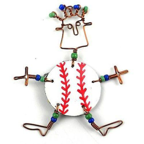 Dancing Girl Baseball Fanatic Pin Handmade and Fair Trade