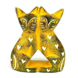 Handcrafted 4-inch Soapstone Love Cats Sculpture in Yellow Handmade and Fair Trade
