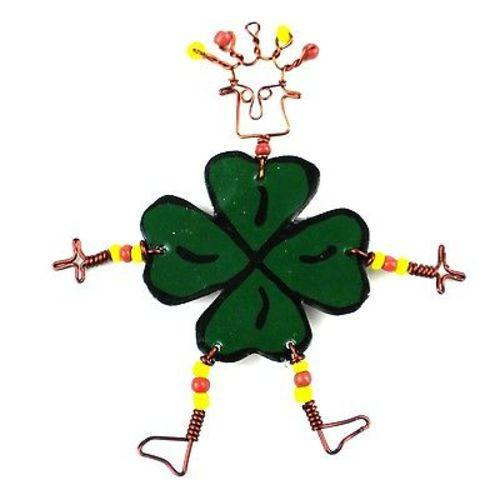 Dancing Girl Luck of the Irish Pin Handmade and Fair Trade