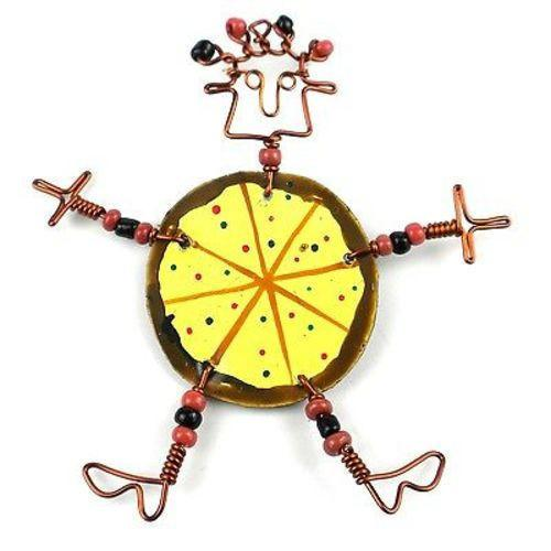 Dancing Girl Pizza Pin Handmade and Fair Trade