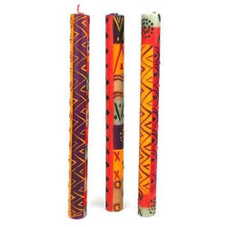 Set of Three Boxed Tall Hand-Painted Candles - Indaeuko Design Handmade and Fair Trade