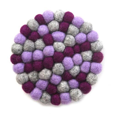 Hand Crafted Felt Ball Trivets from Nepal: Round Chakra, Purples - Global Groove (T)