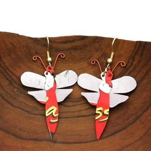 Recycled Tin Dragonfly Earrings Handmade and Fair Trade