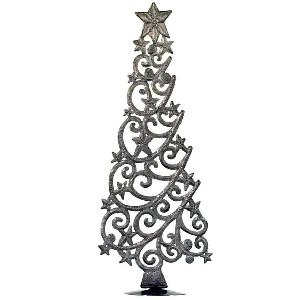 "Tabletop Christmas Tree with Stars (18"" Tall) - Croix des Bouquets (H)"