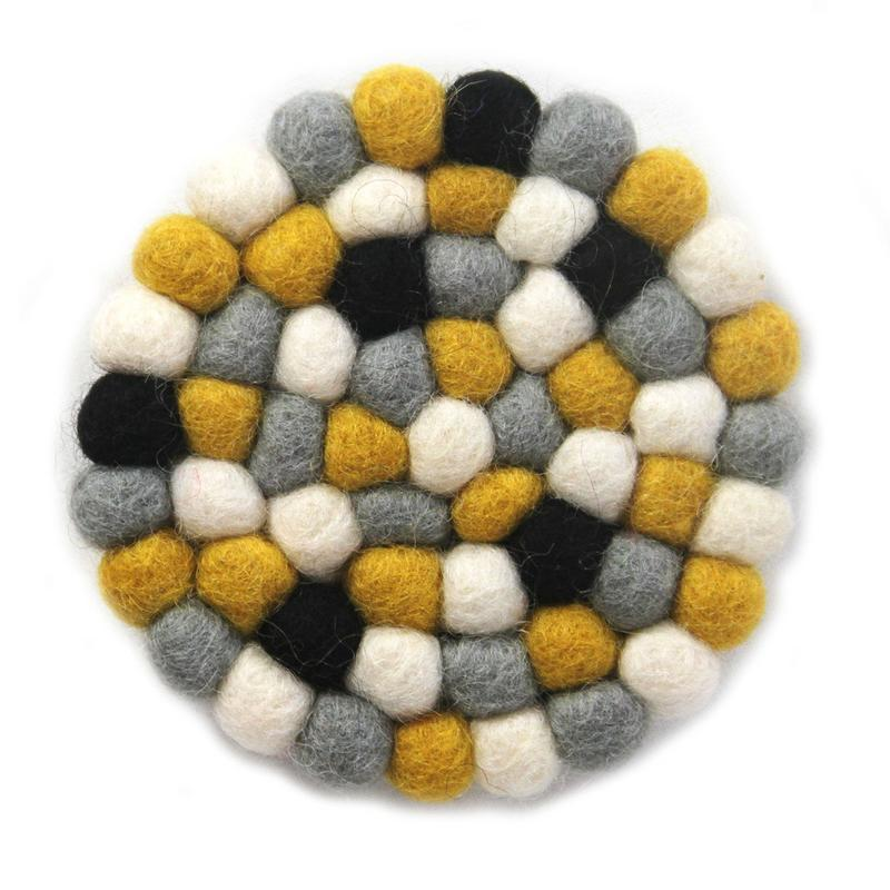 Hand Crafted Felt Ball Coasters from Nepal: 4-pack, Mustard - Global Groove (T)