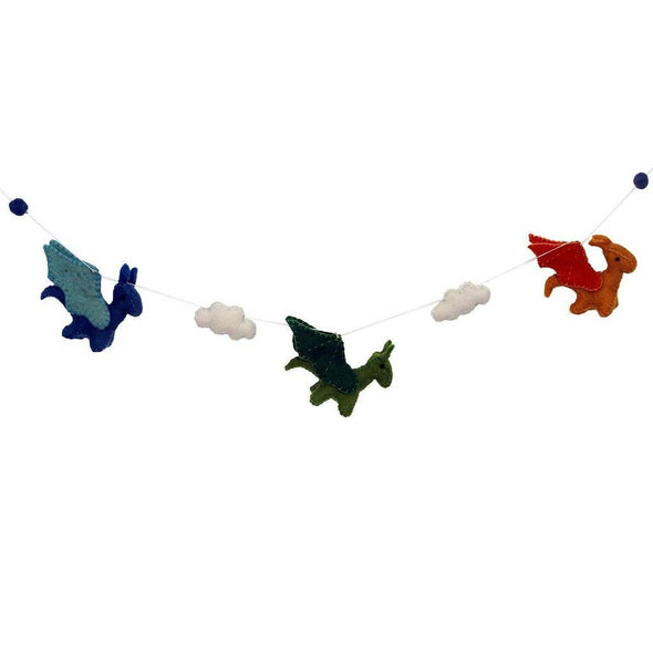 Felt Dragon Garland - Primary Colors