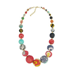 Kantha Graduated Bead Statement Necklace - WorldFinds