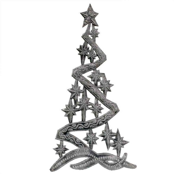 "Christmas Tree Metal Wall Art (14"" x 7"") - Croix des Bouquets (H)"