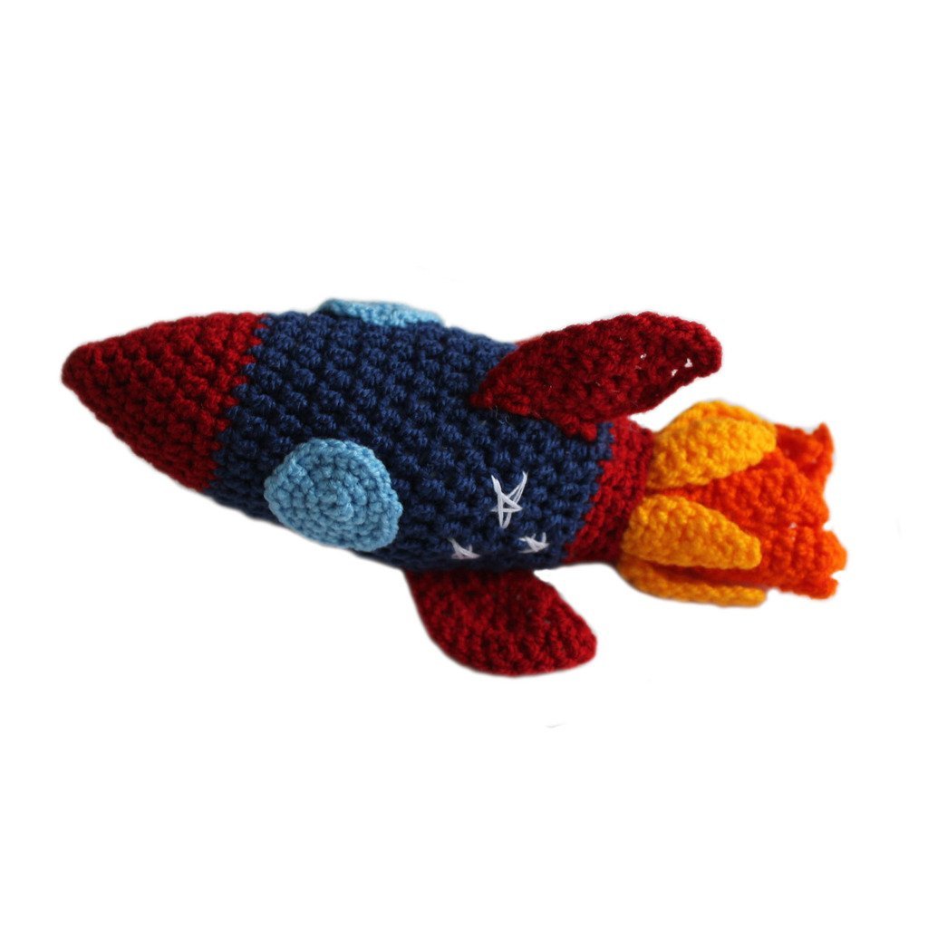Knit Rattle Rocketship