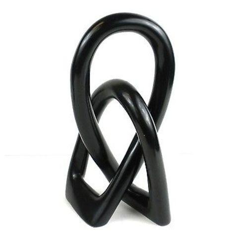 Natural Soapstone 8-inch Lover's Knot in Black Handmade and Fair Trade