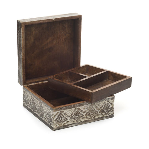 Image of Antique Finish Wood Jewelry Box - Matr Boomie (B)