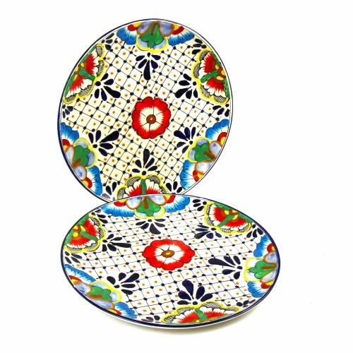 Dinner Plates 11.8in - Dots and Flowers, Set of Two - Encantada