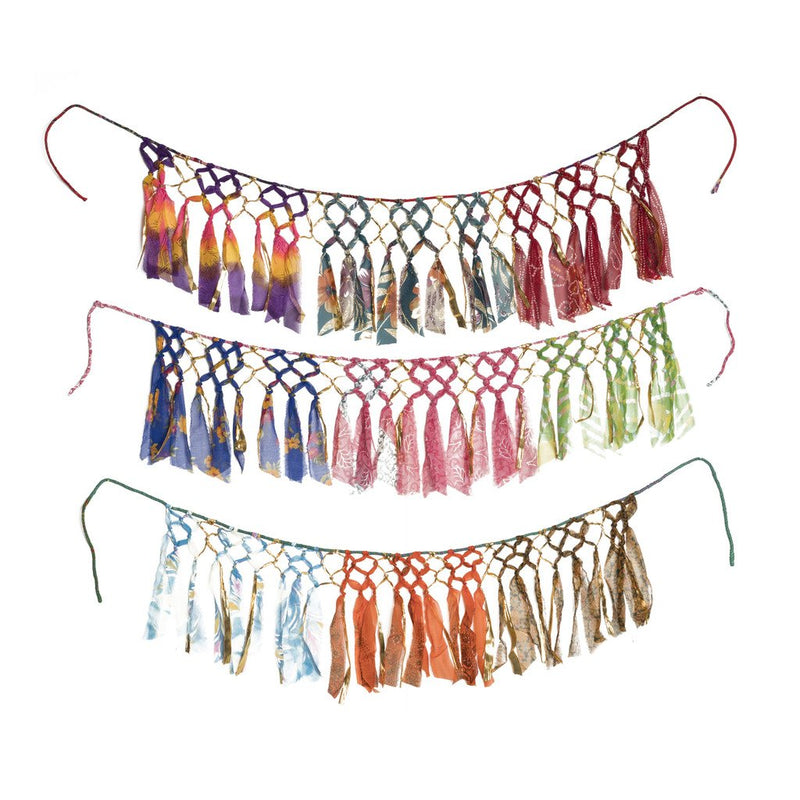 Upcycled Sari and Gold Ribbon Macrame 80-inch Garland - Matr Boomie (H)