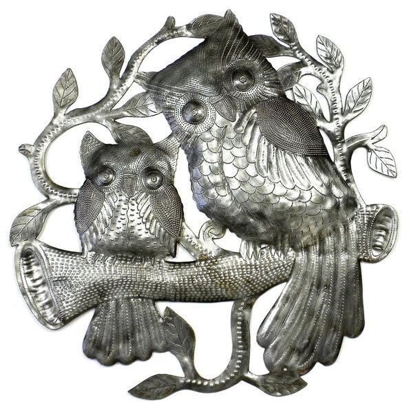 Pair of Owls on Perch Metal Wall Art - Croix des Bouquets