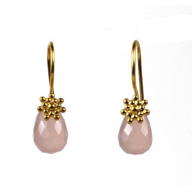 Rosy Sun Drop Earring with Chalecedony Gem - DZI (J)