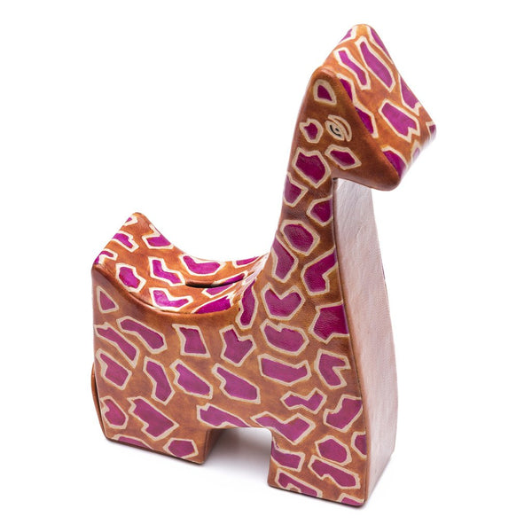 Leather Giraffe Coin Bank
