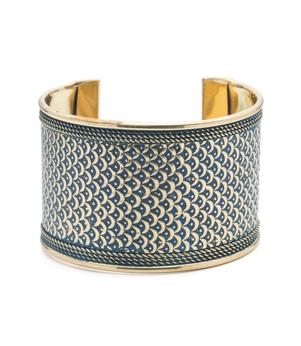 Art Deco Scallop Cuff - Blue - Matr Boomie (Jewelry)