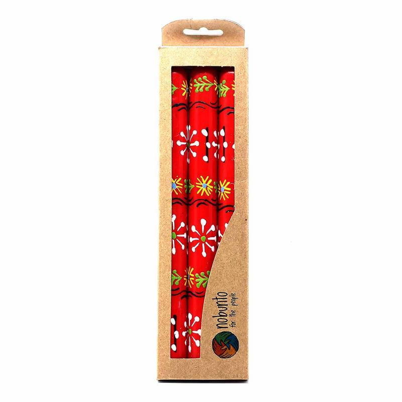 Hand Painted Candles in Red Masika Design (three tapers) - Nobunto