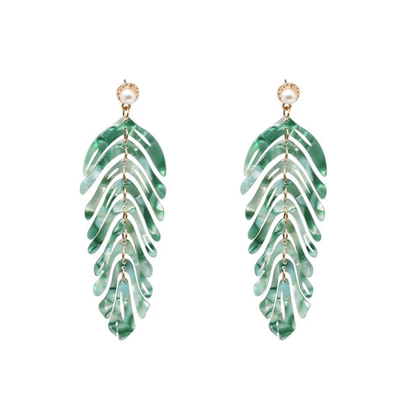 Resin green leaf earrings