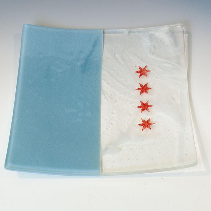 "Chicago Flag 8"" Slumped Platter"