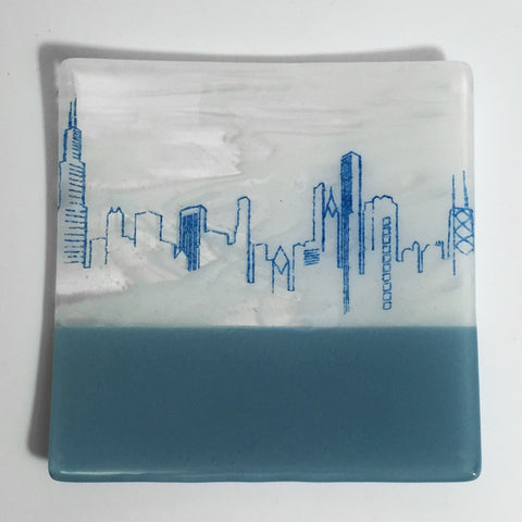 "Chicago Skyline 8"" Slumped Platter"