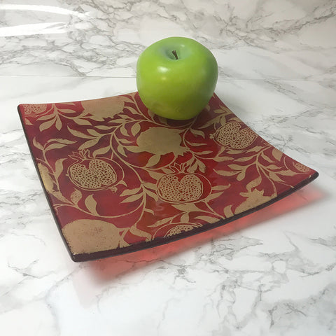 "Pomegranate 8"" Slumped Platter"