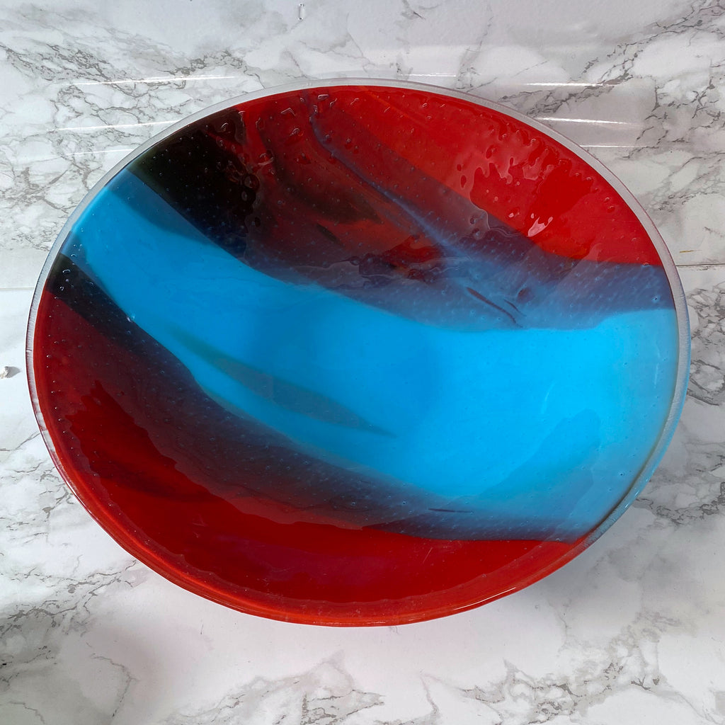 One of a Kind Cyan Blue and Red Large Bowl