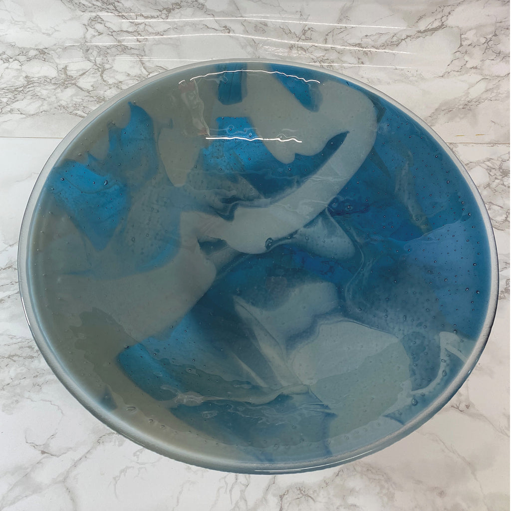 One of a Kind Steel Blue and Gray Large Bowl