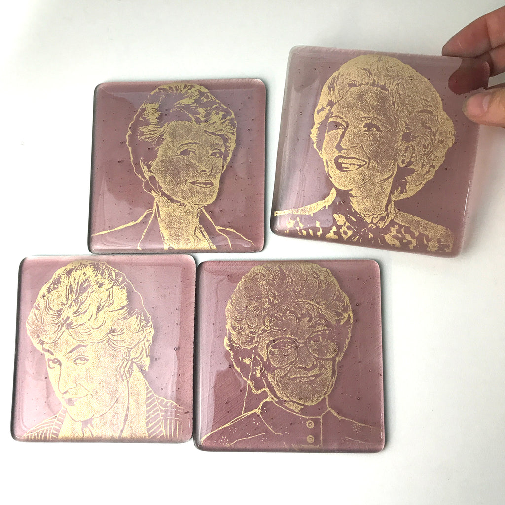 Golden Girls Actresses Fused Glass Coaster 4-pack